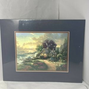 Thomas Kinkade A New Day Dawning Matted Print FLAW